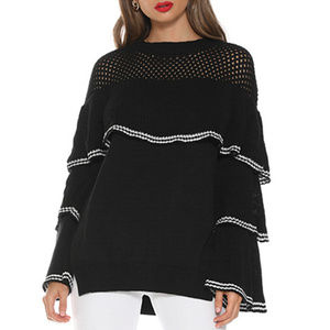 Hollowed Out Layered Crop Sweater